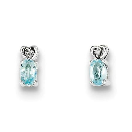 Sterling Silver Aquamarine & Diamond Earrings. Gem Wt- 0.45ct (8MM Long x 3MM Wide)