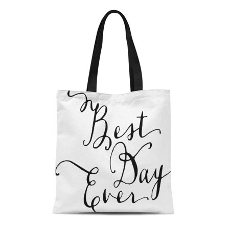 KDAGR Canvas Tote Bag Welcome Best Day Ever Wedding Personalized Guests Town Custom Reusable Handbag Shoulder Grocery Shopping