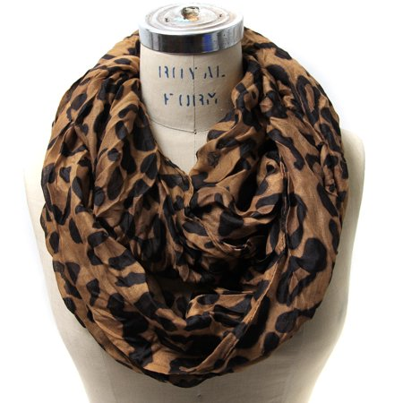 Women's Classic Leopard Print Infinity Scarf (Brown) ()
