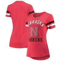 Nebraska Cornhuskers G-III Sports by Carl Banks Women's Extra Point Sleeve Stripe Tri-Blend T-Shirt - Heathered Scarlet