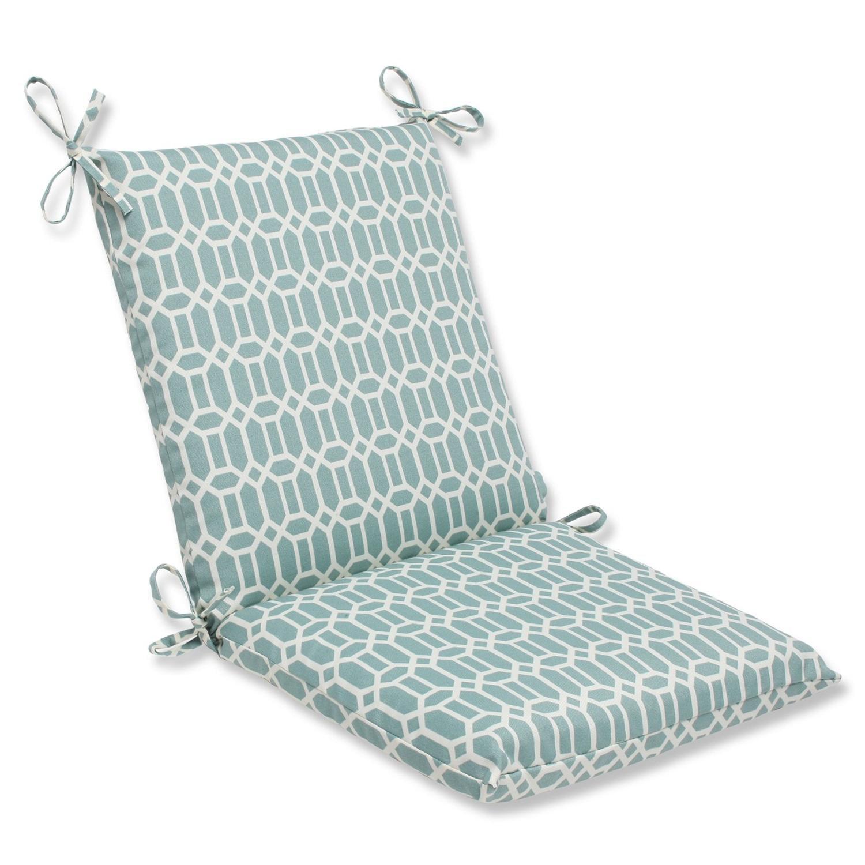 "36.5"" Facetas Geométricas Light Blue and White Outdoor Patio Chair Cushion"