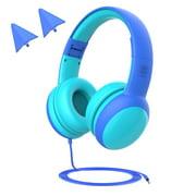 Ustyle Kids Headphone Cartoon 3.5mm Wired Children Headset Foldable Portable Mini Headphone, Blue