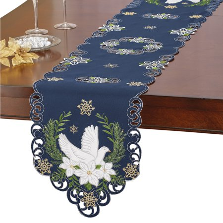 Navy Blue Religious Holiday Embroidered Table Linens with Doves, Poinsettias & Gold Snowflakes, (Poinsettia Runner)