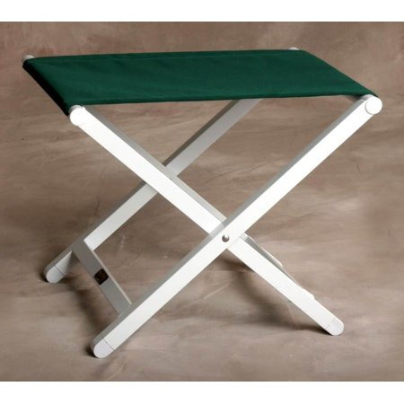 Monterey Folding Aluminum Frame Footstool in Forest Green & White