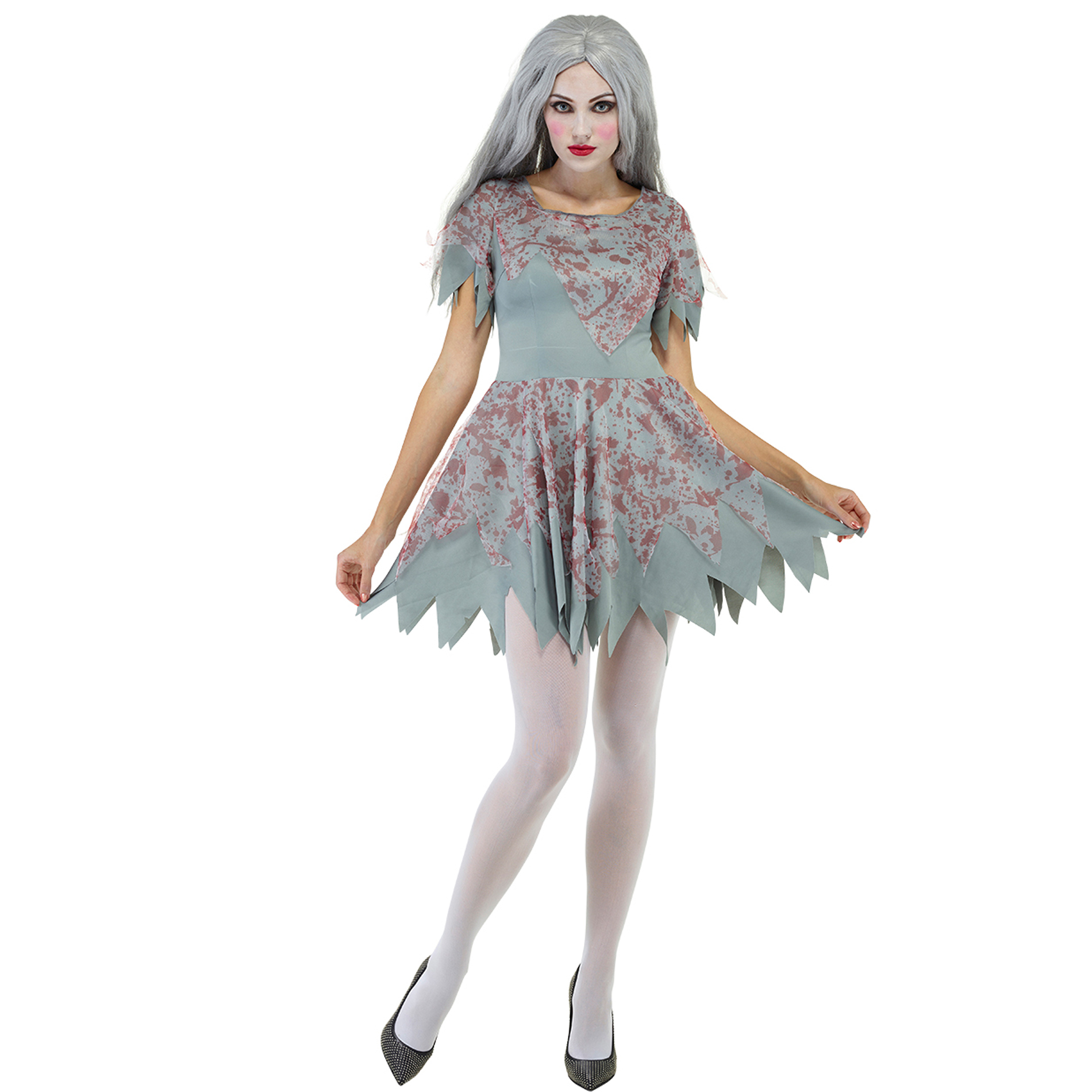 Girls Zombie Princess Costume Childs Bloody Halloween Fancy Dress Outfit Scary