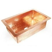 D'Vontz Copper 33'' x 22'' Hammered Single Bowl Kitchen Sink