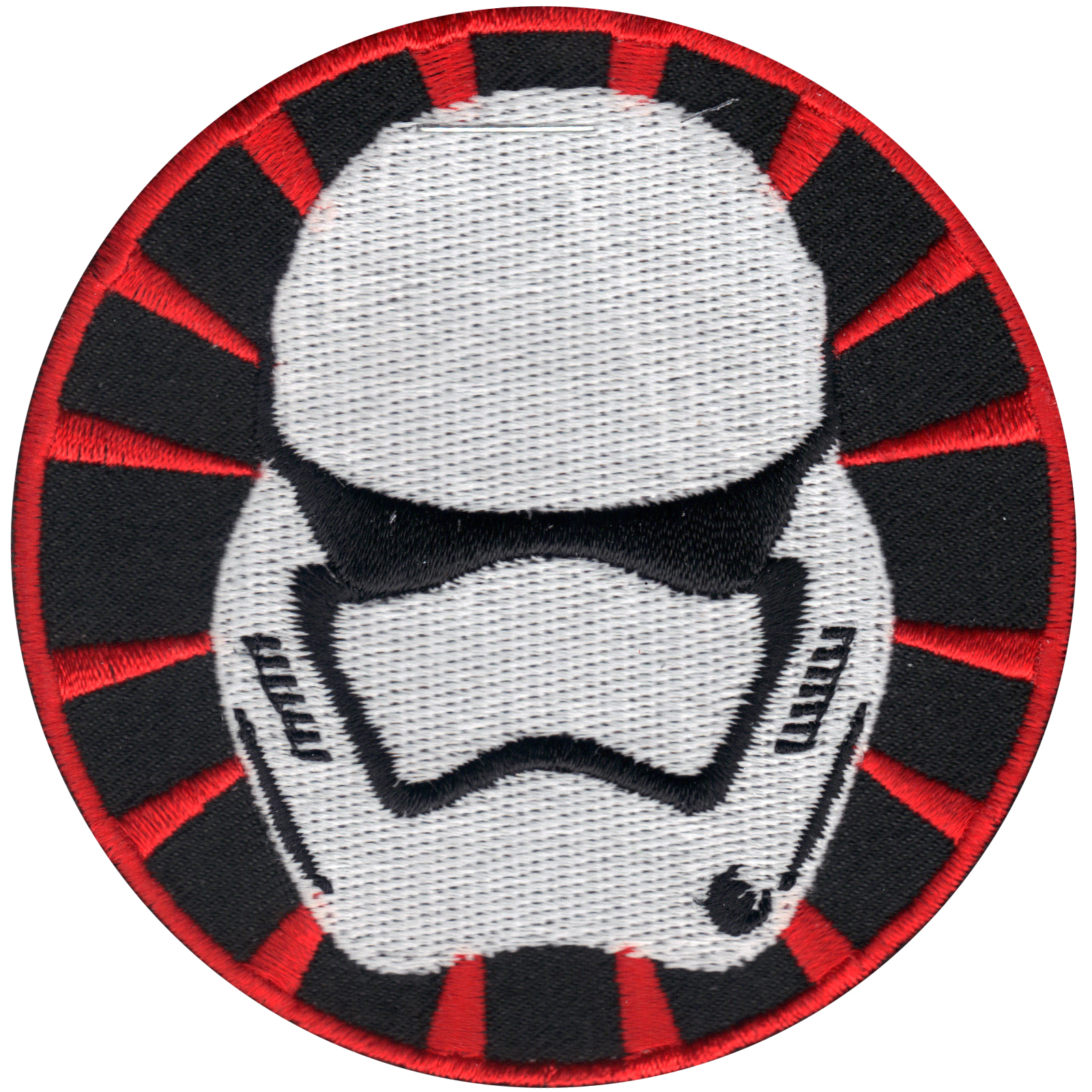 Star Wars Round Stormtrooper Helmet Iron On Patch (Orange Border)