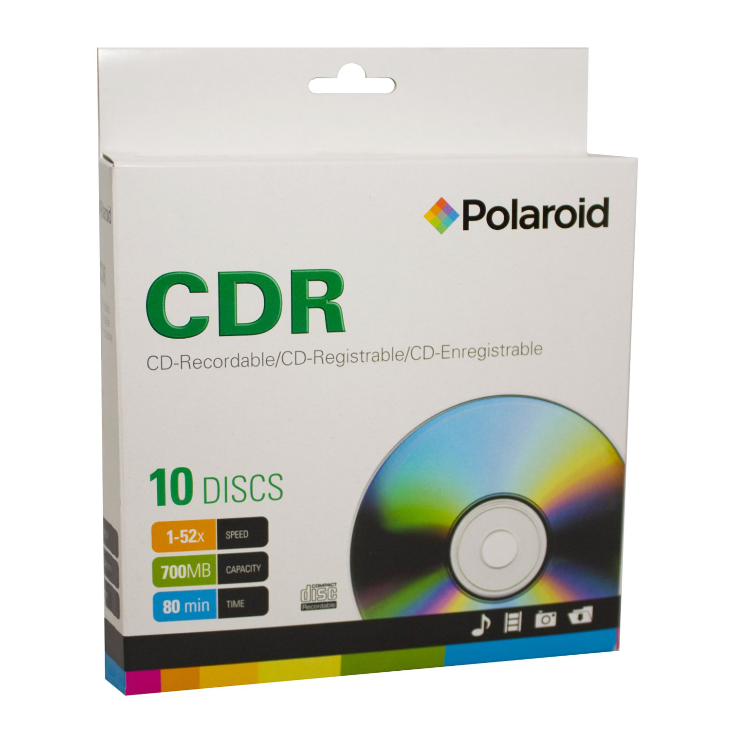 Polaroid CDRs ~ Recordable Media Disc, 10-Pack with Slim Case