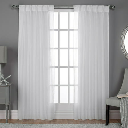 Pleated Sheer Curtains (Exclusive Home Curtains 2 Pack Belgian Textured Linen Look Jacquard Sheer Pinch Pleat Curtain)