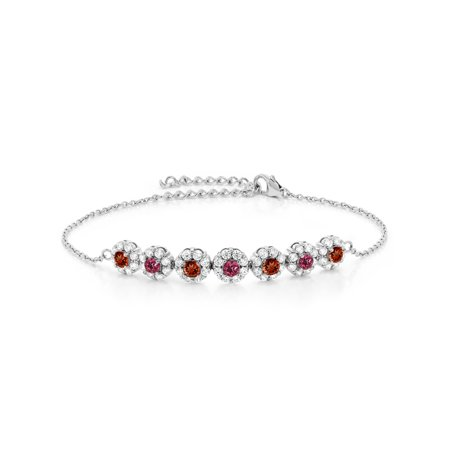 925 Sterling Silver 1.25 Ct Round Red Garnet Pink Tourmaline Tennis Bracelet