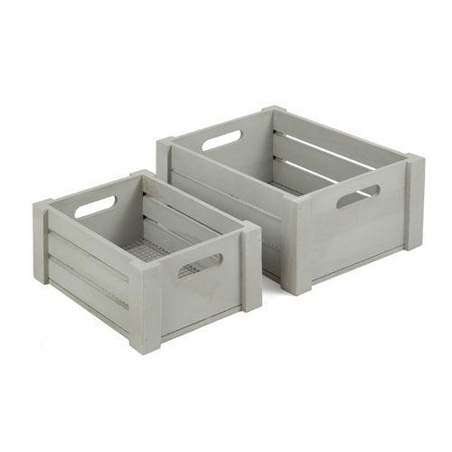 Homezone Grey Wood Wire Crate, 2 Piece