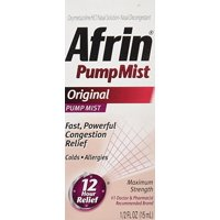 Afrin Original Cold and Allergy Congestion Relief Pump Mist, 0.5 Fl Oz