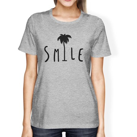 Smile Palm Tree Womens Grey Short Sleeve Tee Funny Saying (Best Sayings On Smile)