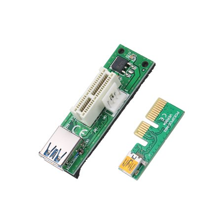 Mini PCI-E X1 Extension Cable PCIE 1X Expansion Riser Card 90°Right Angle with USB Cable and SATA Cable - image 2 of 7