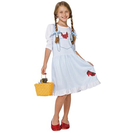 the wizard of oz little girls' dorothy costume pajama gown with fleece lined ruby slippers, blue, 4/5 (Ruby Slippers Costume)