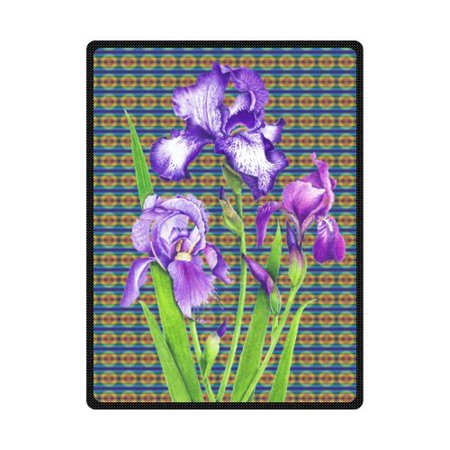 RYLABLUE Purple Iris Green Leaf Art Background Fleece Blanket Throws 58x80 inches - image 1 de 3