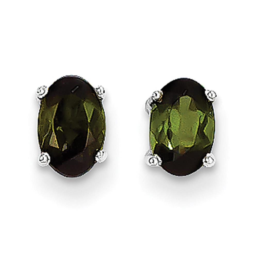 14k White Gold Polished 6mm x 4mm Oval Cut Green Tourmaline Post Earrings by Fusion Collections
