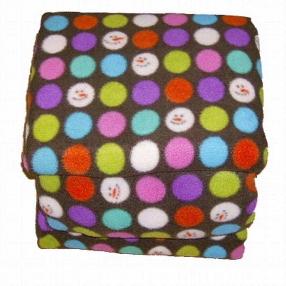 Soft & Lofty Fleece Sheet Set Queen Size Brown Snowman & Colored Dots Bed Sheets