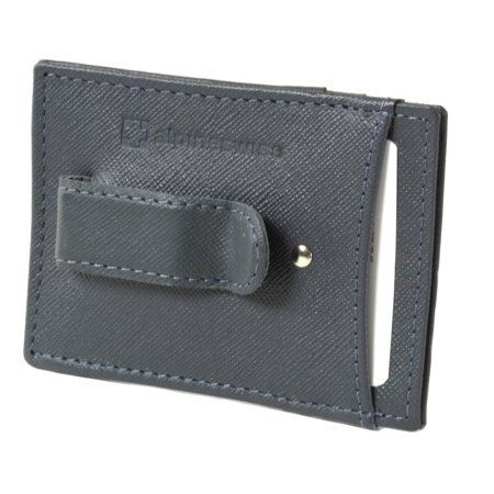 Business Card Money Clip (Alpine Swiss Mens Money Clip Thin Front Pocket Wallet Genuine Leather Card)