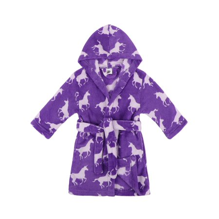 - Girls Robe Hooded Printed Fleece Bathrobe w/Side Pockets,Unicorns,M