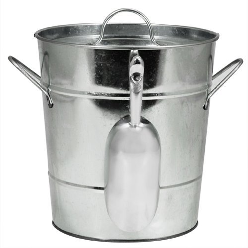 Ice Bucket Large, Insulated Galvanized Metal Ice Scoop Wine Ice Buckets Large