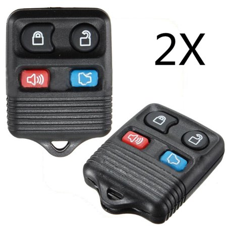 2pcs 4 Button Keyless Entry Remote Key Fob Replacement Case Shell Clicker Rubber Pad For  Thunderbird Focus  Town LS Mercury Tracer Sable NO Interior Electronic Chip CWT