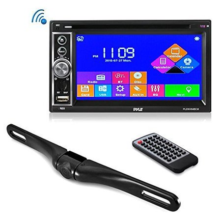 premium 6.5 double-din touchscreen car stereo receiver system video dvd usb multimedia player - hands-free bluetooth - gps navigation - with die-cast rearview waterproof backup camera (Best Low Price Gps)