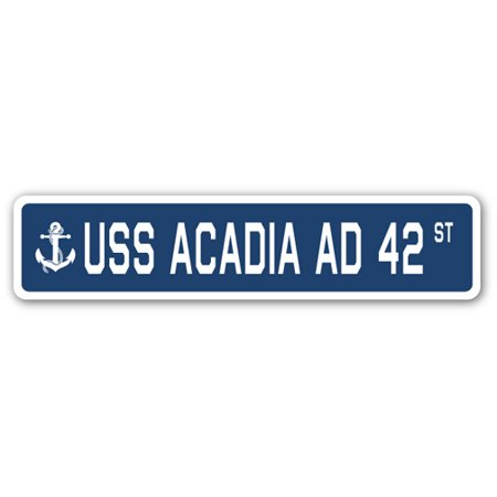Uss Acadia Ad 42 Street  3 Pack  Of Vinyl Decal Stickers   1 5   X 7    Indoor Outdoor   Funny Decoration For Laptop  Car  Garage   Bedroom  Offices   Signmission