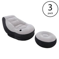 Intex Inflatable Ultra Lounge Chair With Cup Holder And Ottoman Set (3 Pack)