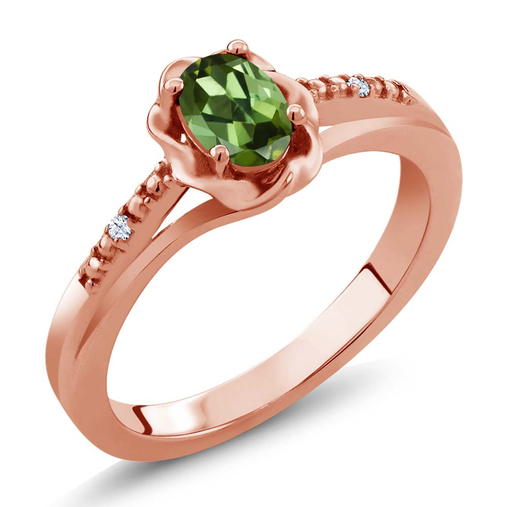 0.52 Ct Oval Green Tourmaline 18K Rose Gold Ring by