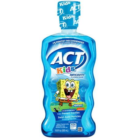 Act Kids Spongebob Ocean Berry Anticavity Fluoride Rinse  16 9 Oz