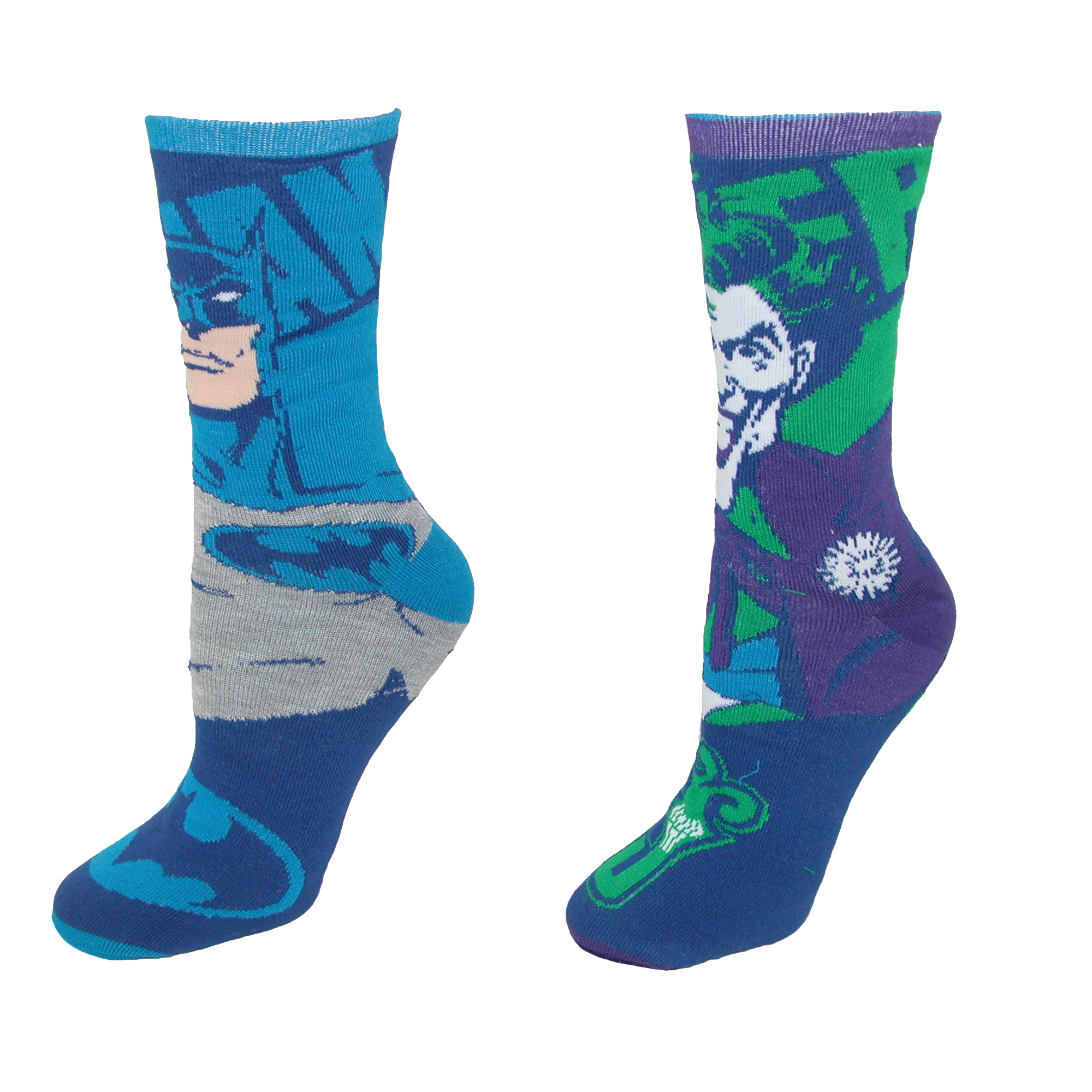 BioWorld  DC Comics Batman Joker Reversible Crew Socks