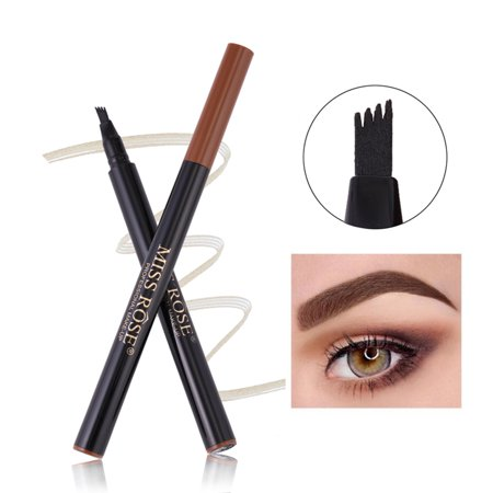 MISS ROSE 4 Heads Fork Fine Liquid Eyebrow Pencil Tattoo Eyebrow Pen Waterproof Long Lasting Fork Tip Sketch for Professional Makeup or Daily Use](Makeup Sketch)