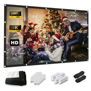 Keenstone Projector Screen 150 inch 16:9 HD Foldable Anti-Crease Portable Projection Movies Screen  Support Double Sided Projection