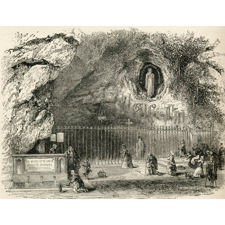 Grotto Of Massabielle In The Sanctuary Of Our Lady Of Lourdes France In The 19Th Century From French Pictures By The Rev Samuel G Green Published 1878 Canvas Art - Ken Welsh  Design Pics (32 x (Our Lady Of Lourdes France Live Tv)