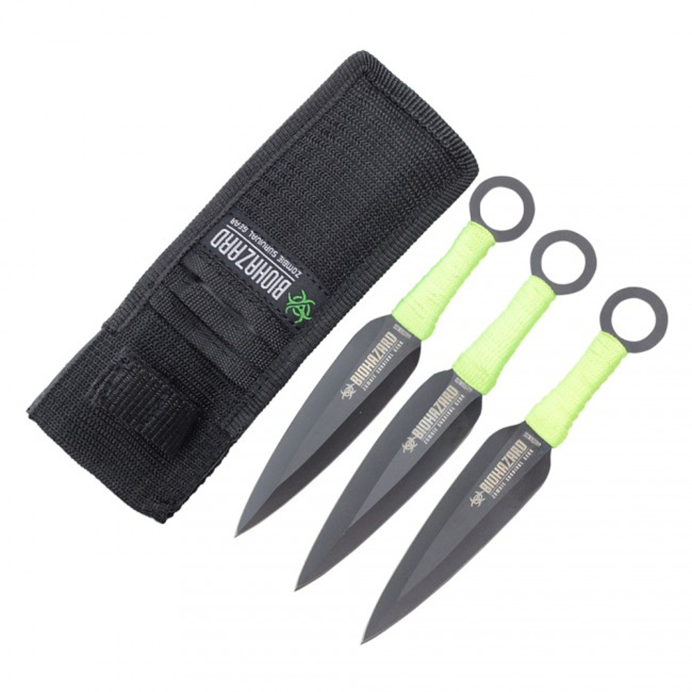 "3 Pc 6.5"" Black Zombie Naruto Throwing Knife Set Ninja Combat Tactical Survival"