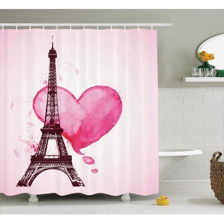 Eiffel Tower Decor Shower Curtain Set, Eiffel Romantic Valentine Love Watercolor Themed Heart Leaf Silhouette Print, Bathroom Accessories, 69W X 70L Inches, By Ambesonne - Valentine Accessories