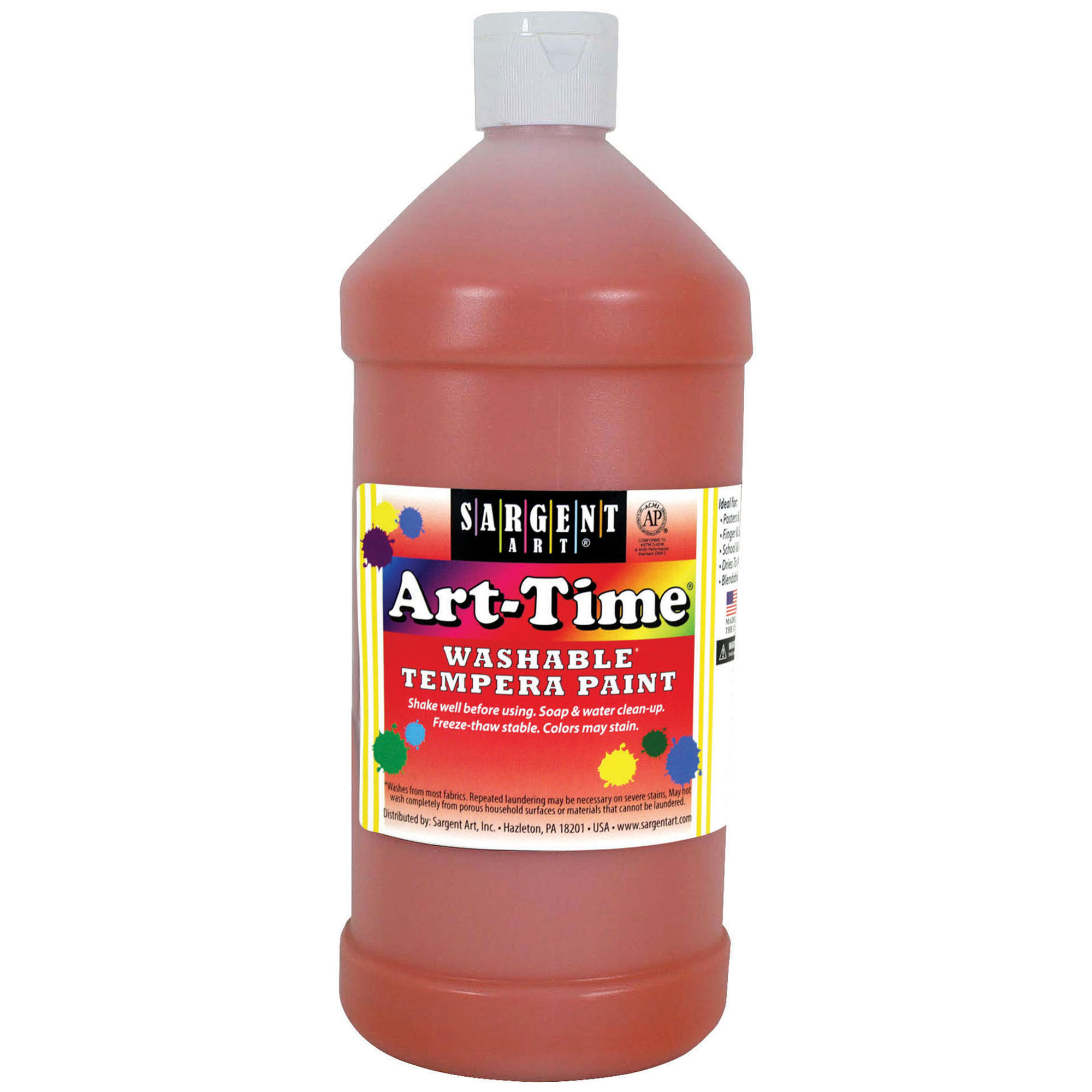 Art-Time® Washable Tempera Paint, Orange - 32 oz., 6/pkg