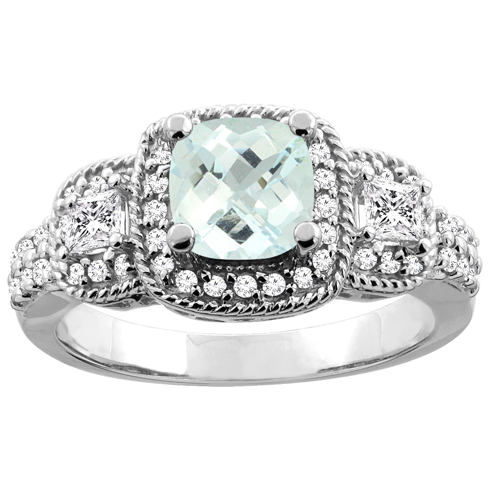 14K White Gold Natural Aquamarine Ring Cushion-cut 6x6 mm Diamond Accent, size 5 by Gabriella Gold