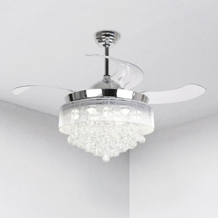 Parrot Uncle Warm Light Crystal LED Ceiling Fan With Retractable Blades and Remote Control](Led Fan Light)