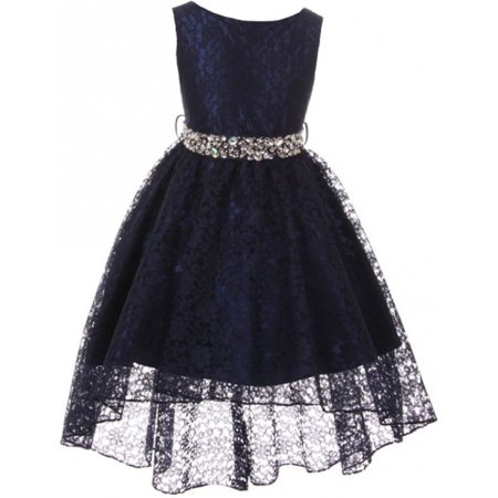 Girl Dress - Rhinestone Belt High Low Lace Pageant Graduation Flower Girl Dress Navy size 4 (Size 4-18)](Navy Dresses For Girls)