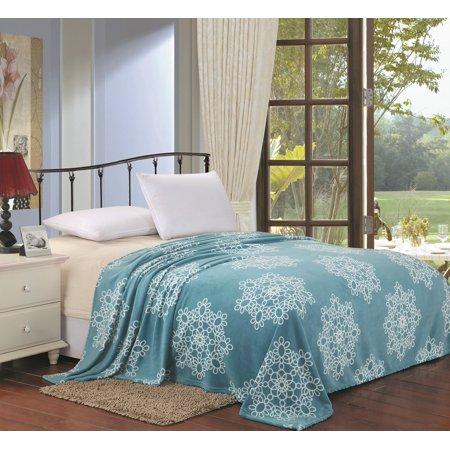 Snowflake Blanket (Lush Elegance Queen Size Daisy Snowflake Mandala Microplush Blanket (86