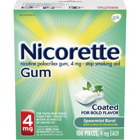 Nicorette Nicotine Gum Spearmint Flavor Coated 4 mg Stop Smoking Aid, 100 count Quit Smoking Gum