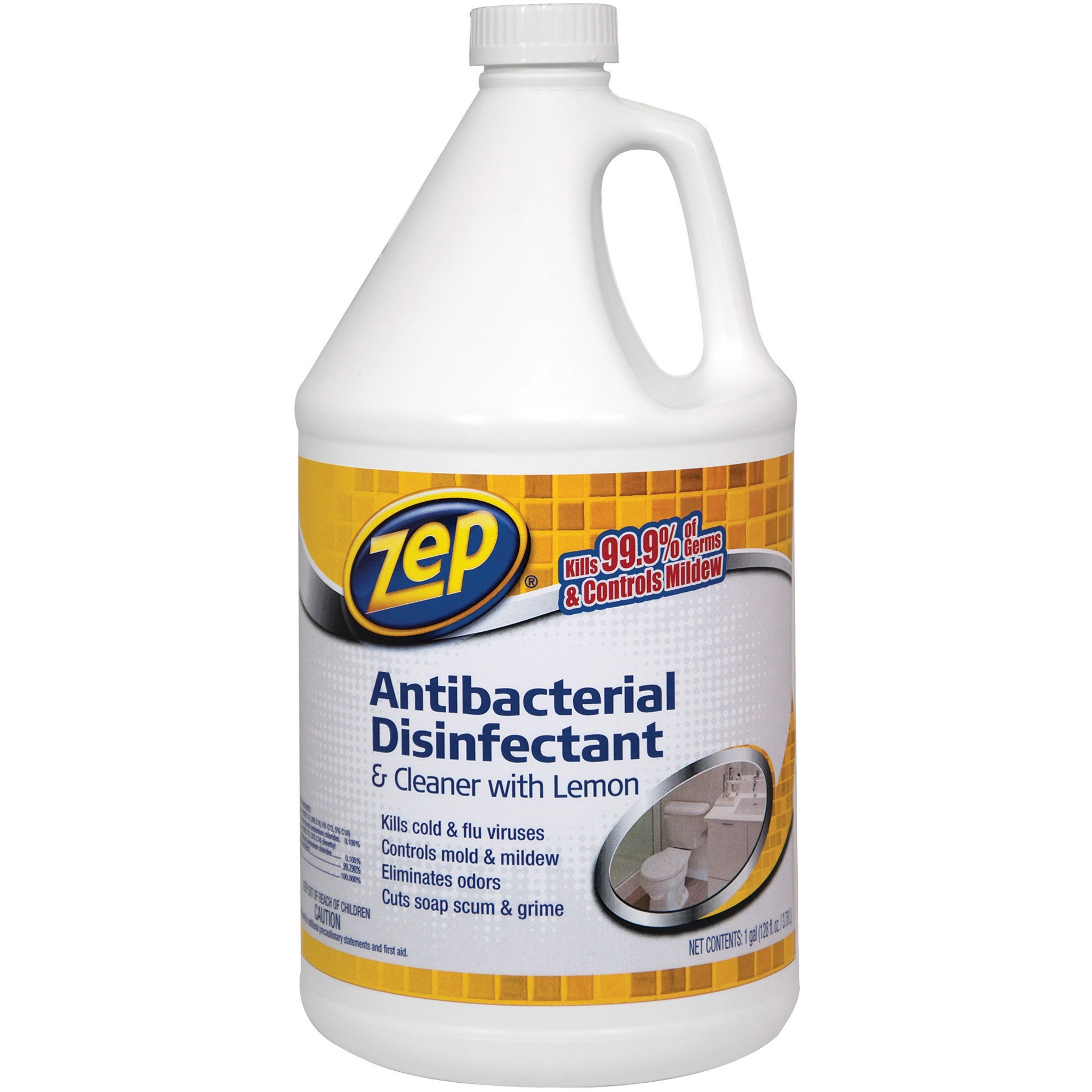 Zep Commercial, ZPE1041688, Lemon Antibacterial Disinfectant Cleaner, 1 Each, Clear