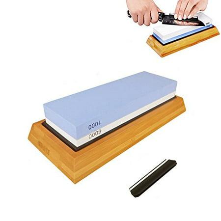 Premium Knife Sharpening Stone Kit, 2 Side 1000/6000 Grit Whetstone, Best Kitchen Blade Sharpener Stone, Non-Slip Bamboo Base and Bonus Angle Guide