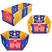 Outopee 4 Panel Safety Baby Playpen Kids Play Center Yard Home Indoor Outdoor Play Yard