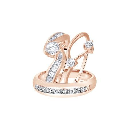 fc54665edb04a Jewel Zone US - White Natural Diamond Engagement  amp  Wedding Trio Bridal  Ring Set In 10k Rose Gold (1.5 Cttw) - Walmart.com
