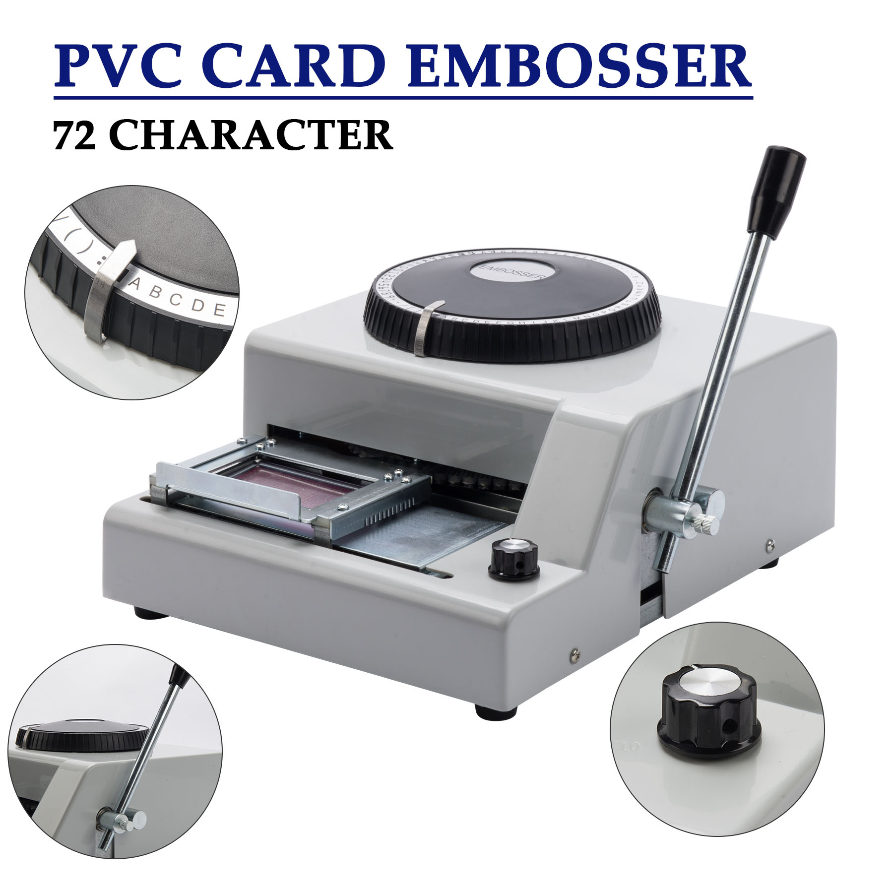 BestEquip Embossing Machine 72 Character Card Embosser Manual Embossing Machine for PVC Gift Card Credit ID VIP Manual Embosser Machine Credit Gift Card
