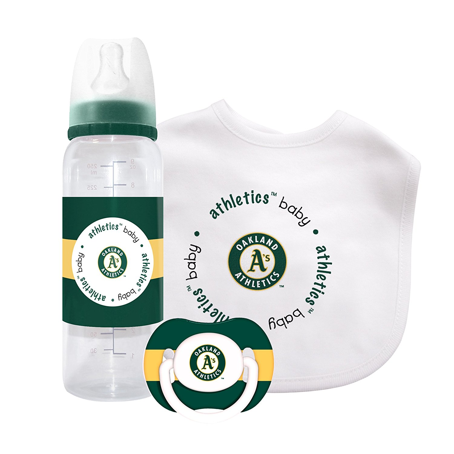 MLB Oakland Athletics Baby Gift Set, This combination of a bib, bottle and pacifier covers all the essential needs of... by Baby Fanatic