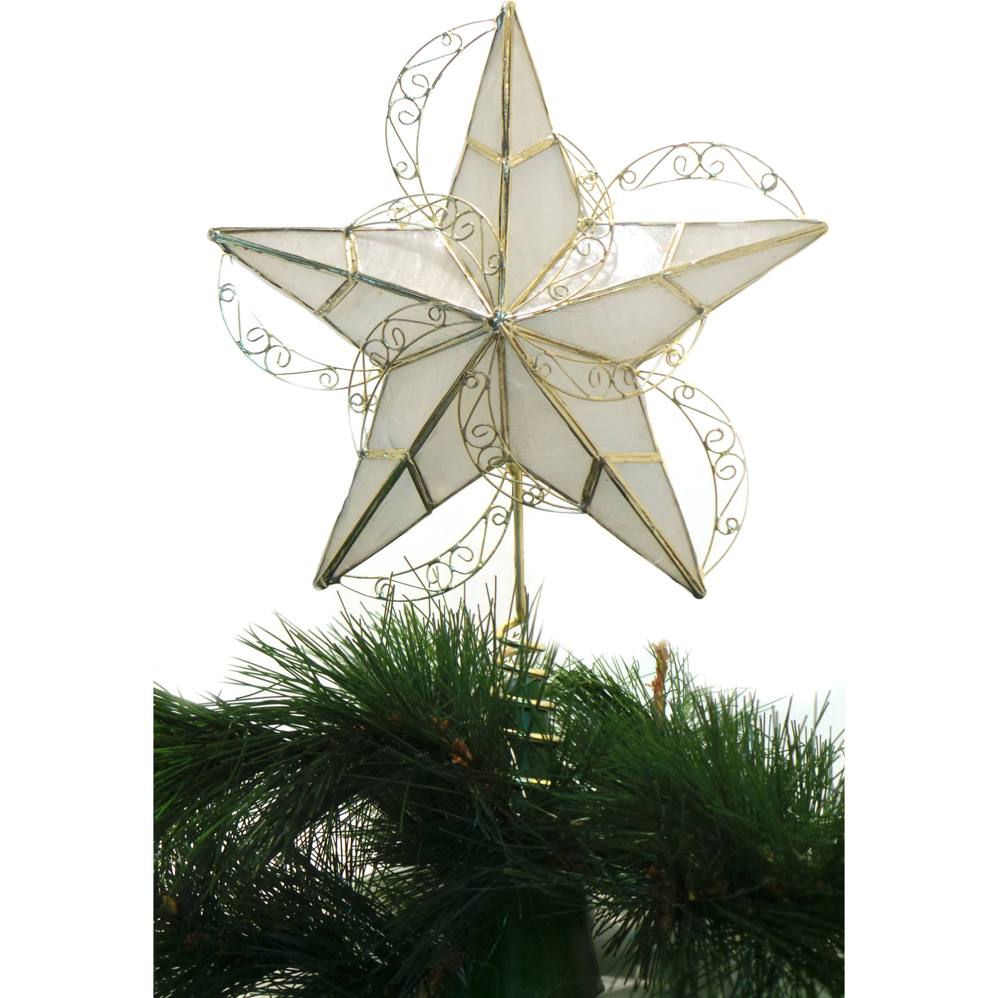 Holiday Time Christmas Ornaments Capiz Gold Circle Tree Topper